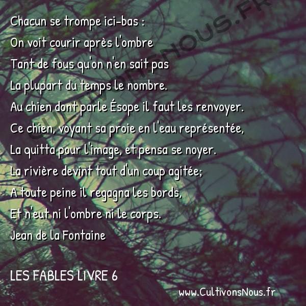 Fables Jean de la Fontaine - Les fables Livre 6 - Le Chien qui lâche sa proie pour l'ombre -   Chacun se trompe ici-bas : On voit courir après l'ombre