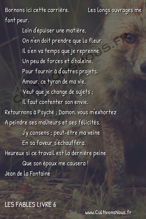 Fables Jean de la Fontaine - Les fables Livre 6 - Epilogue -   Bornons ici cette carrière.  Les longs ouvrages me font peur.  Loin d'épuiser une matière,