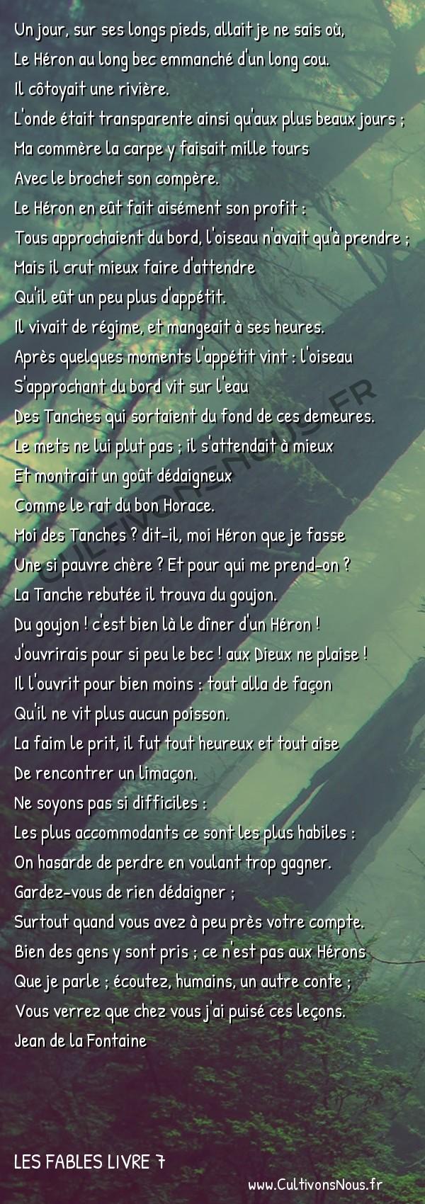 Fables Jean de la Fontaine - Les fables Livre 7 - Le Héron -   Un jour, sur ses longs pieds, allait je ne sais où, Le Héron au long bec emmanché d'un long cou.