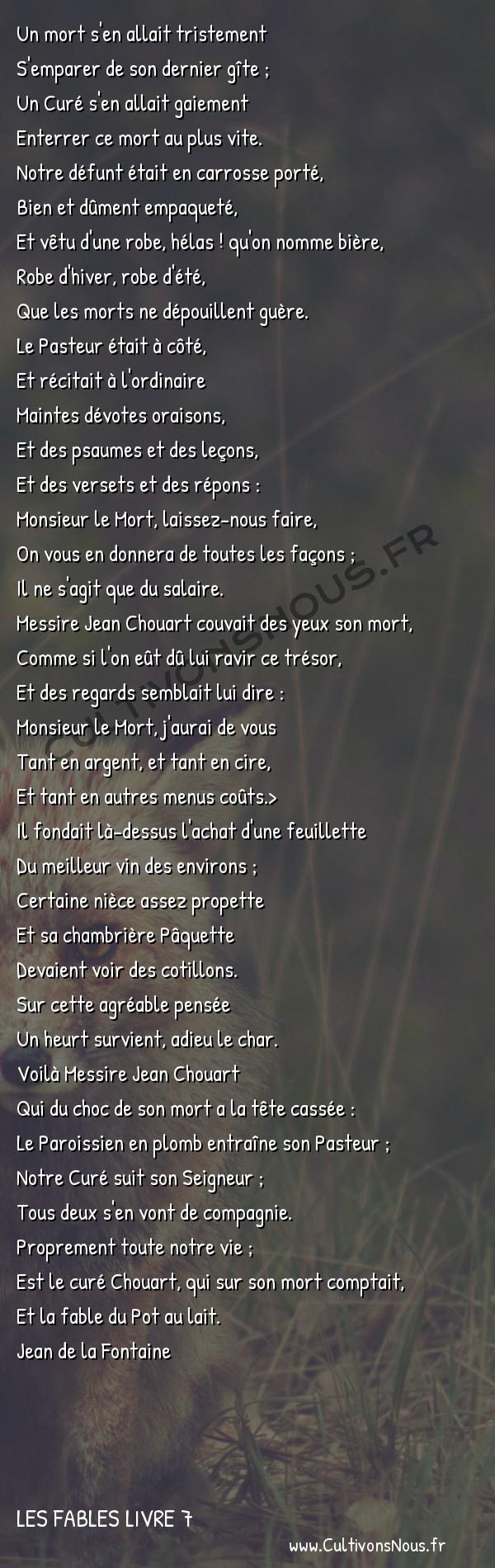 Fables Jean de la Fontaine - Les fables Livre 7 - Le Curé et le Mort -   Un mort s'en allait tristement S'emparer de son dernier gîte ;