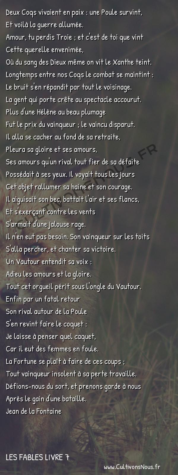 Fables Jean de la Fontaine - Les fables Livre 7 - Les deux Coqs -   Deux Coqs vivaient en paix : une Poule survint, Et voilà la guerre allumée.