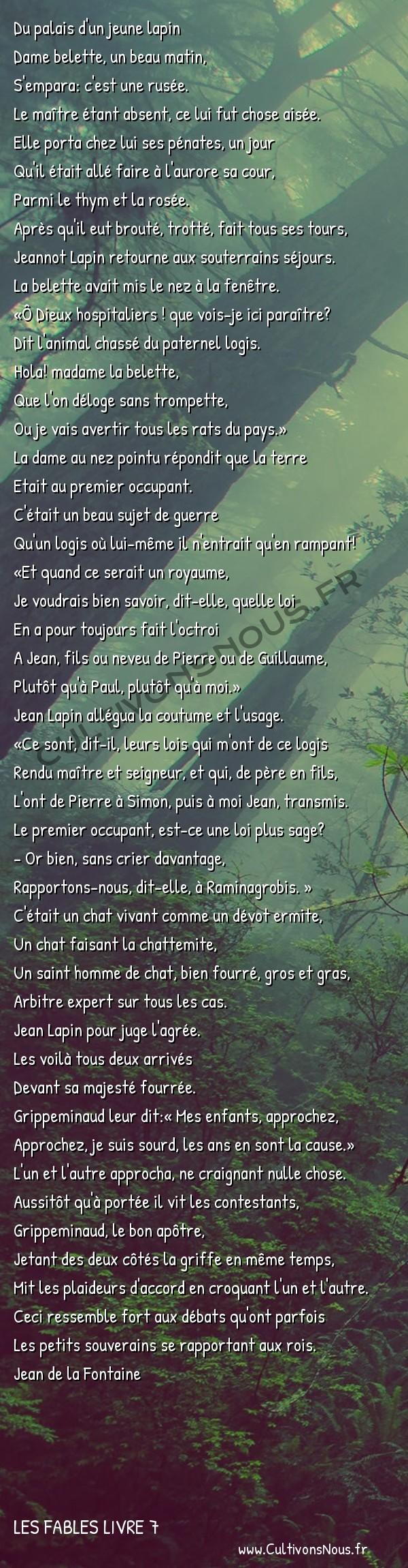 Fables Jean de la Fontaine - Les fables Livre 7 - Le Chat la Belette et le petit lapin -   Du palais d'un jeune lapin Dame belette, un beau matin,