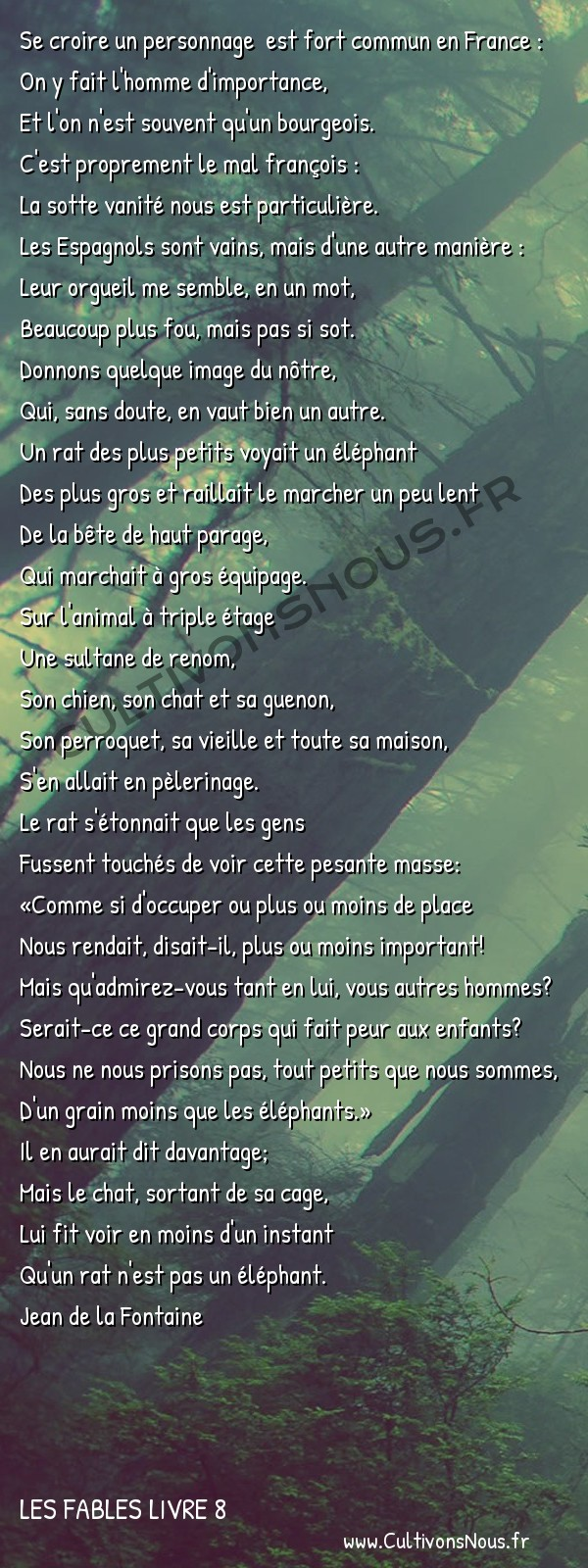 Fables Jean de la Fontaine - Les fables Livre 8 - Le Rat et l'Eléphant -   Se croire un personnage est fort commun en France : On y fait l'homme d'importance,