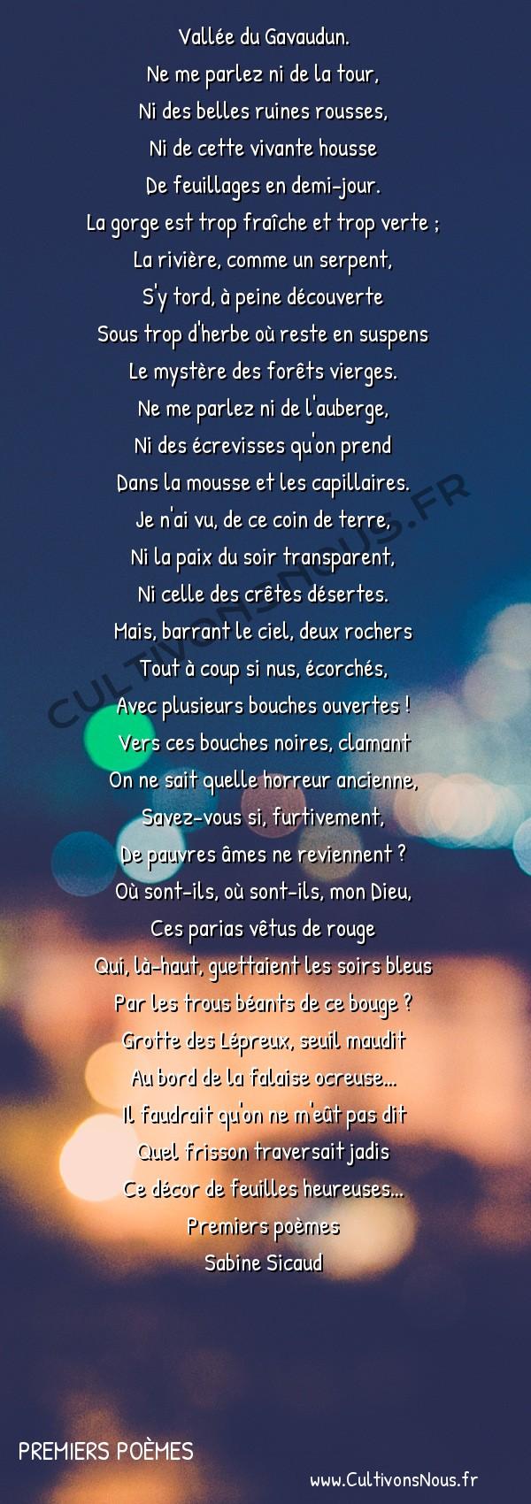Poésies Sabine Sicaud - Premiers poèmes - La Grotte des Lépreux -  Vallée du Gavaudun. Ne me parlez ni de la tour,