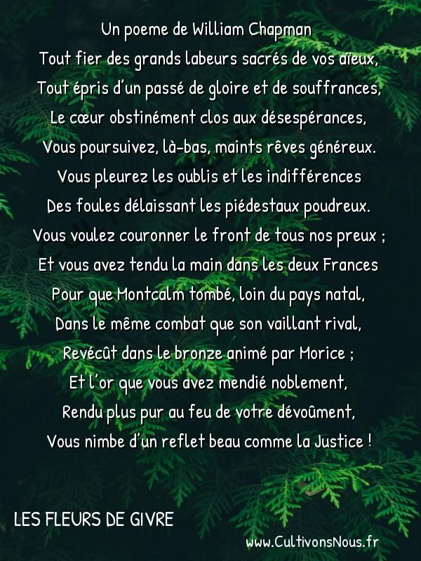 Poésie William Chapman - Les Fleurs de givre - À Gaston Bouzanquet -   Tout fier des grands labeurs sacrés de vos aïeux, Tout épris d'un passé de gloire et de souffrances,