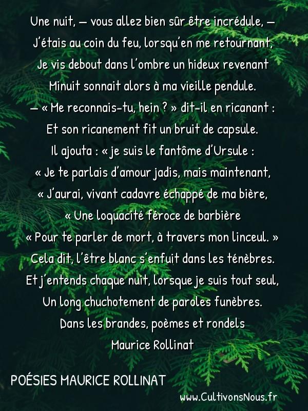 Poésies Maurice Rollinat - Dans les brandes poèmes et rondels - Le Fantôme D'ursule -  Une nuit, — vous allez bien sûr être incrédule, — J'étais au coin du feu, lorsqu'en me retournant,