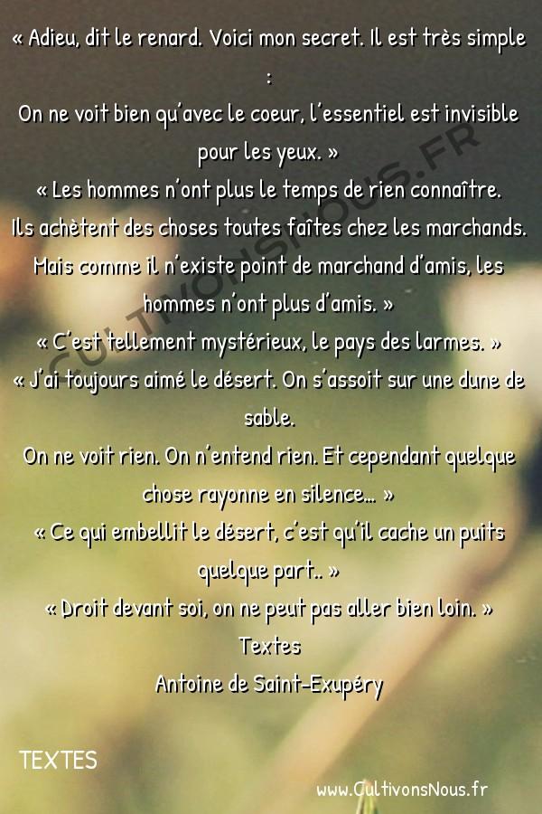 Poesie Antoine de Saint-Exupéry - Textes - Adieu dit le renard -  « Adieu, dit le renard. Voici mon secret. Il est très simple : On ne voit bien qu'avec le coeur, l'essentiel est invisible pour les yeux. »