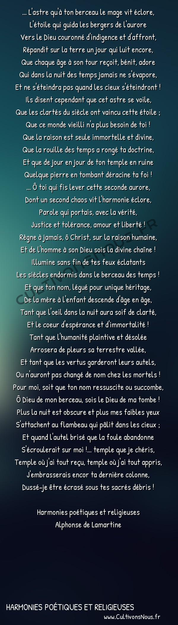 Poésie Alphonse de Lamartine - Harmonies poétiques et religieuses - Hymne au Christ -  ... L'astre qu'à ton berceau le mage vit éclore, L'étoile qui guida les bergers de l'aurore