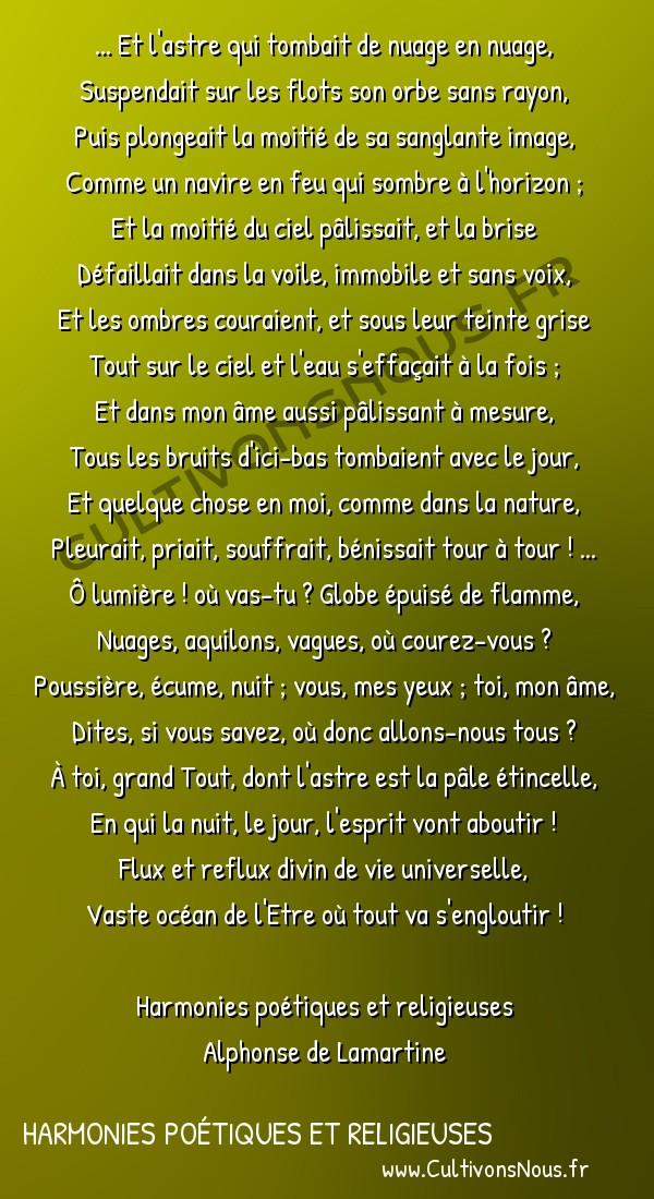Poésie Alphonse de Lamartine - Harmonies poétiques et religieuses - L'Occident -  ... Et l'astre qui tombait de nuage en nuage, Suspendait sur les flots son orbe sans rayon,
