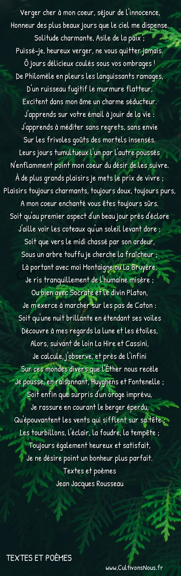 Poésie Jean Jacques Rousseau - textes et poèmes - Le verger de Mme de Warens -  Verger cher à mon coeur, séjour de l'innocence, Honneur des plus beaux jours que le ciel me dispense.