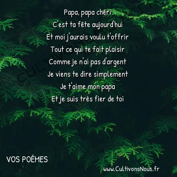 Poésies contemporaines - Vos poémes - Papa papa chéri -  Papa, papa chéri C'est ta fête aujourd'hui