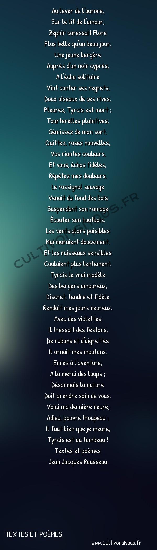 Poésie Jean Jacques Rousseau - textes et poèmes - Romance -  Au lever de l'aurore, Sur le lit de l'amour,
