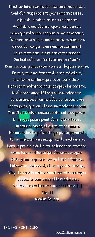 Poésie Nicolas Boileau - Textes poétiques - Il est certains esprits… -  I1 est certains esprits dont les sombres pensées Sont d'un nuage épais toujours embarrassées ;