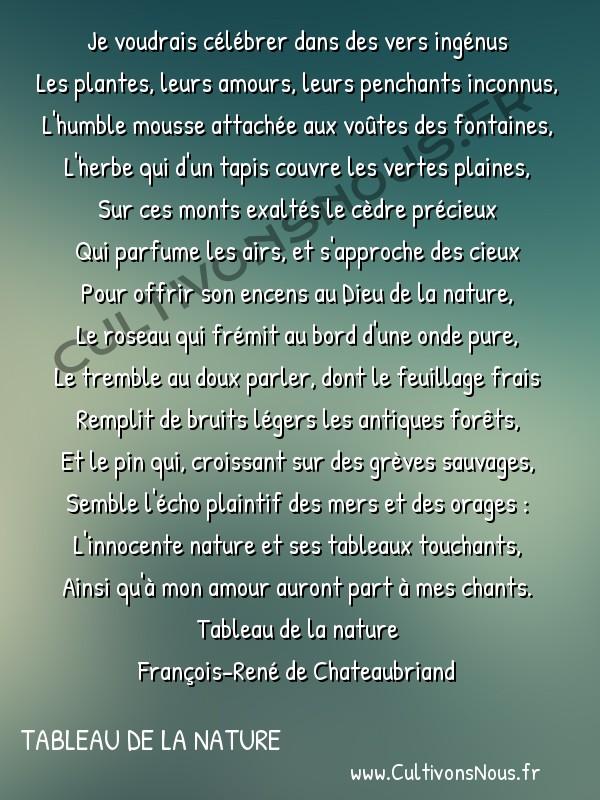 Poésie François-René de Chateaubriand - Tableau de la nature - Invocation -  Je voudrais célébrer dans des vers ingénus Les plantes, leurs amours, leurs penchants inconnus,