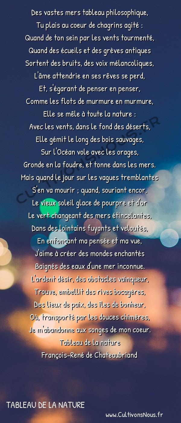 Poésie François-René de Chateaubriand - Tableau de la nature - La mer -  Des vastes mers tableau philosophique, Tu plais au coeur de chagrins agité :