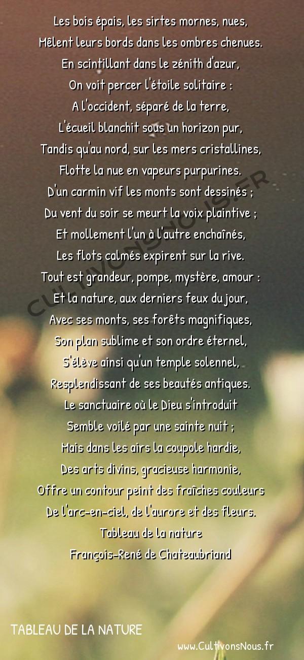 Poésie François-René de Chateaubriand - Tableau de la nature - Le soir au bord de la mer -  Les bois épais, les sirtes mornes, nues, Mêlent leurs bords dans les ombres chenues.
