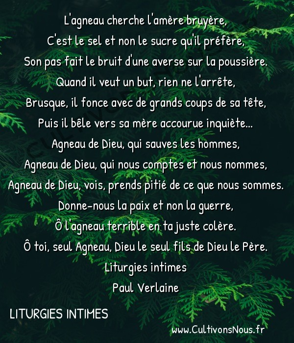 Poésie Paul Verlaine - Liturgies intimes - Agnus Dei -  L'agneau cherche l'amère bruyère, C'est le sel et non le sucre qu'il préfère,