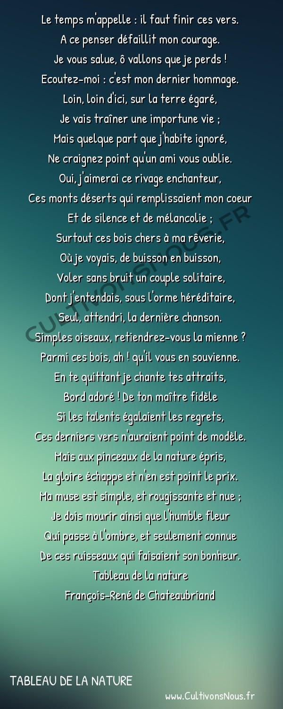 Poésie François-René de Chateaubriand - Tableau de la nature - Les adieux -  Le temps m'appelle : il faut finir ces vers. A ce penser défaillit mon courage.