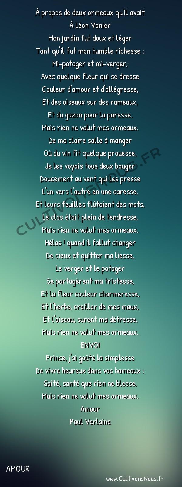 Poésie Paul Verlaine - Amour - Ballade -  À propos de deux ormeaux qu'il avait À Léon Vanier