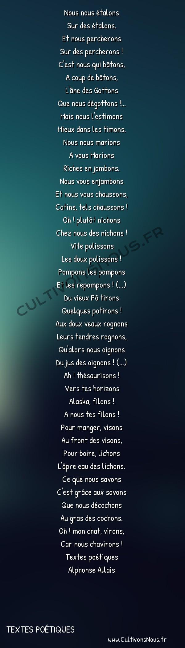 Poésie Alphonse Allais - Textes poétiques - Nous nous étalons -  Nous nous étalons Sur des étalons.