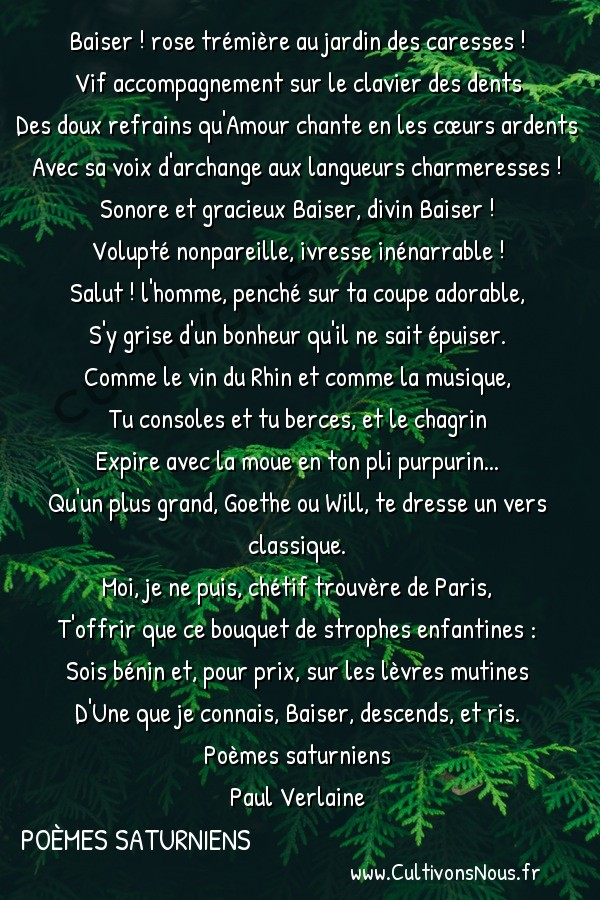 Poésie Paul Verlaine - Poèmes saturniens - Il bacio -  Baiser ! rose trémière au jardin des caresses ! Vif accompagnement sur le clavier des dents