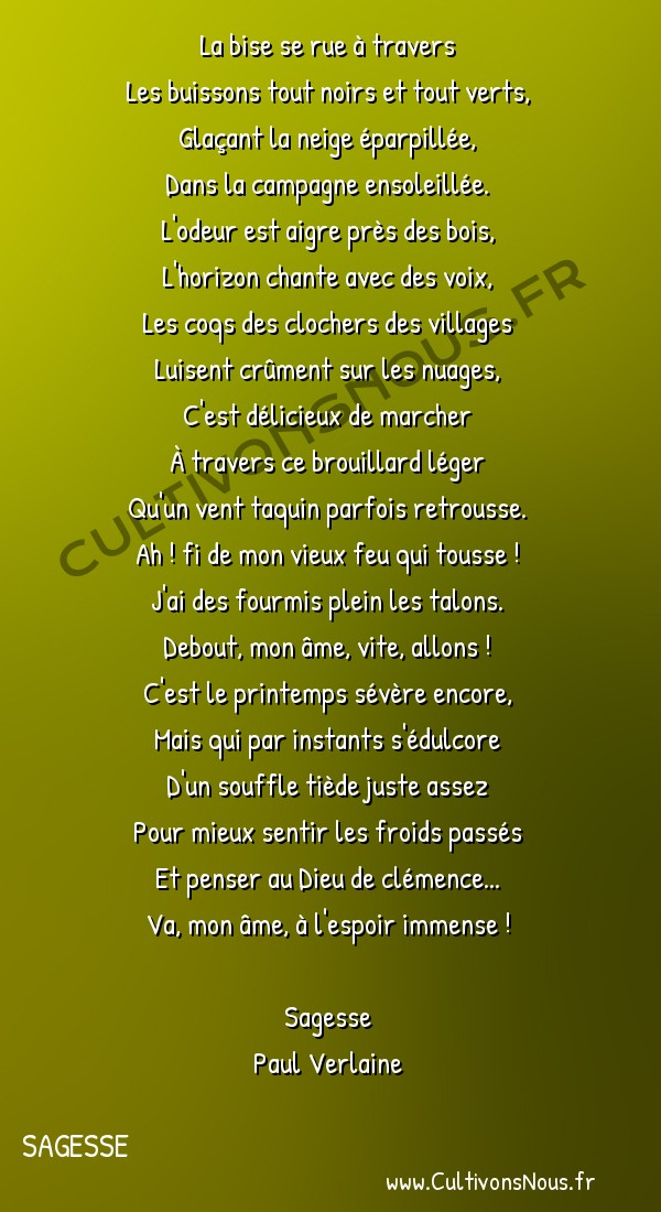Poésie Paul Verlaine - Sagesse - La bise se rue à travers -  La bise se rue à travers Les buissons tout noirs et tout verts,
