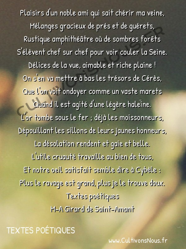 Poésie M-A Girard de Saint-Amant - Textes poétiques - Sonnet sur la moisson d'un lieu proche de Paris -  Plaisirs d'un noble ami qui sait chérir ma veine, Mélanges gracieux de prés et de guérets,