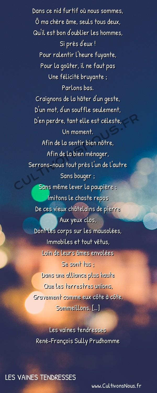 Poésie René-François Sully Prudhomme - Les vaines tendresses - Un rendez-vous -  Dans ce nid furtif où nous sommes, Ô ma chère âme, seuls tous deux,