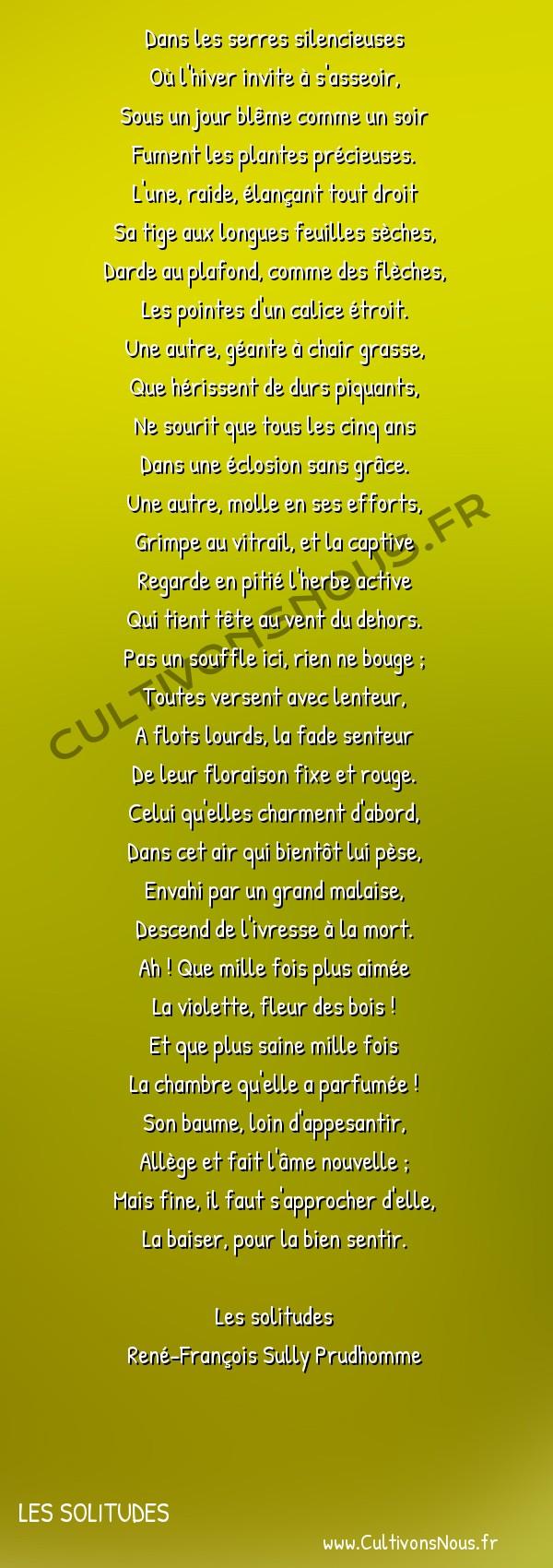 Poésie René-François Sully Prudhomme - Les solitudes - Les serres et les bois -  Dans les serres silencieuses Où l'hiver invite à s'asseoir,