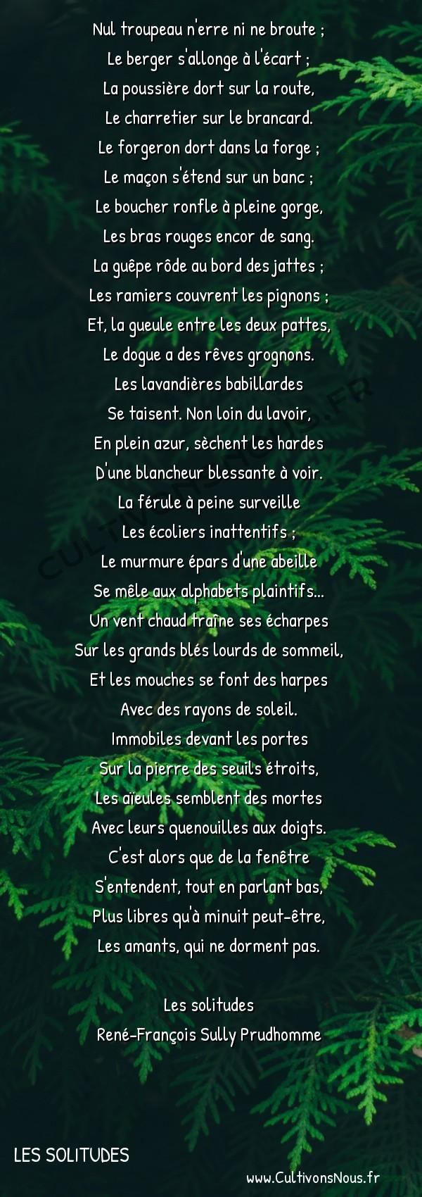 Poésie René-François Sully Prudhomme - Les solitudes - Midi au village -  Nul troupeau n'erre ni ne broute ; Le berger s'allonge à l'écart ;