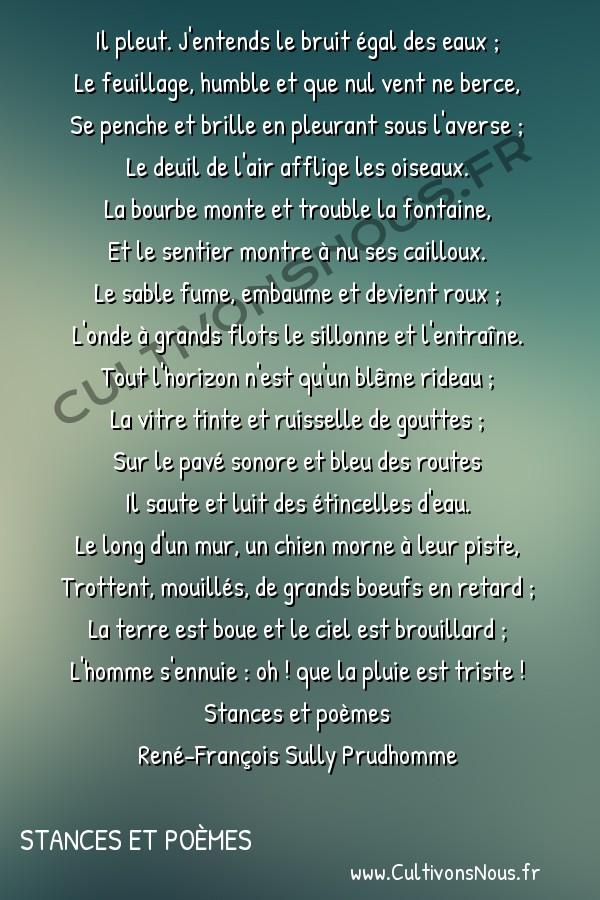 Poésie René-François Sully Prudhomme - Stances et poèmes - Pluie -  Il pleut. J'entends le bruit égal des eaux ; Le feuillage, humble et que nul vent ne berce,