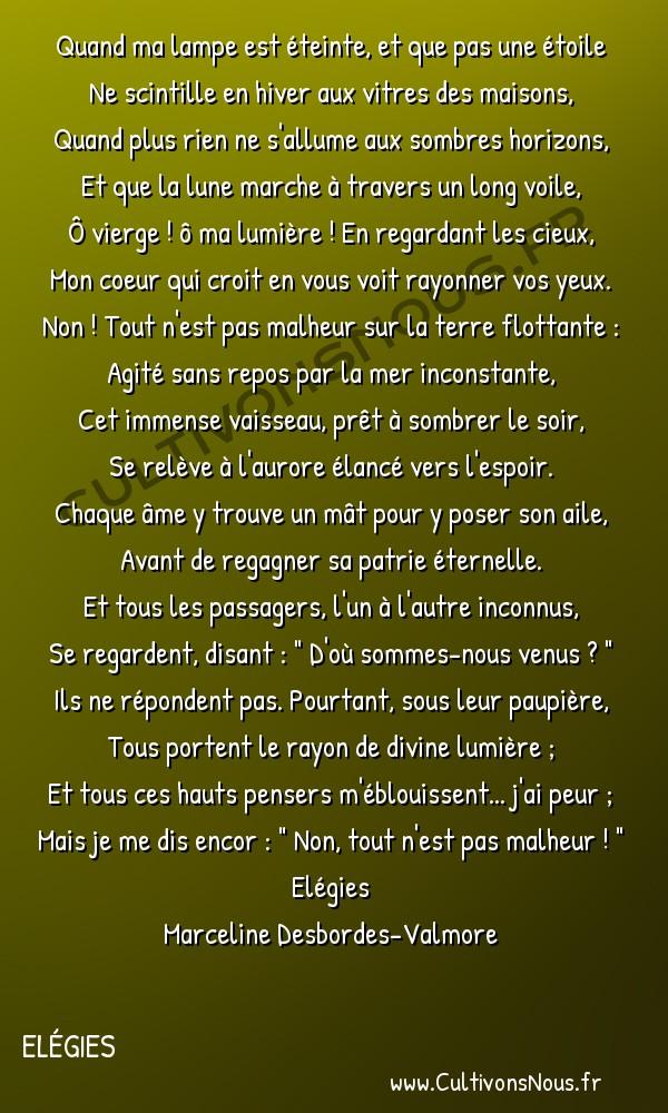Poésie Marceline Desbordes-Valmore - Elégies - Veillée -  Quand ma lampe est éteinte, et que pas une étoile Ne scintille en hiver aux vitres des maisons,