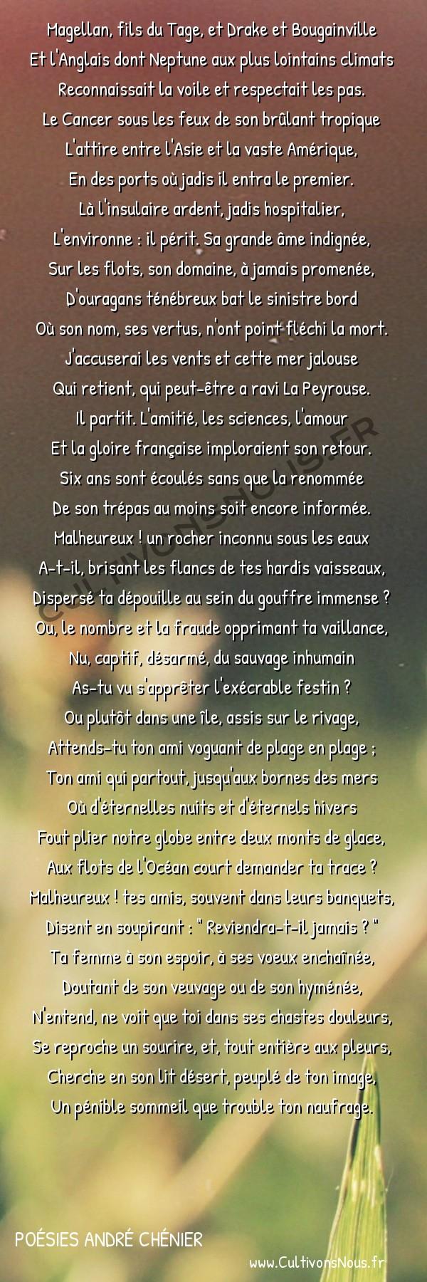 Poésies André Chénier - Poèmes divers - L'Amérique -  Magellan, fils du Tage, et Drake et Bougainville Et l'Anglais dont Neptune aux plus lointains climats
