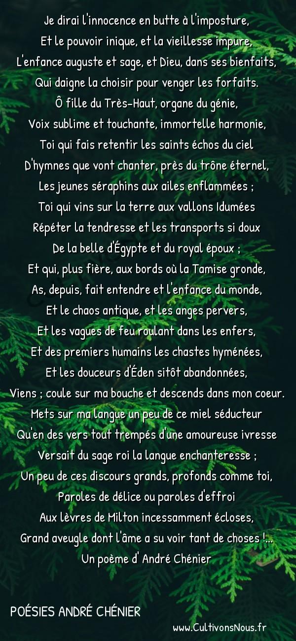 Poésies André Chénier - Poèmes divers - Suzanne -  Je dirai l'innocence en butte à l'imposture, Et le pouvoir inique, et la vieillesse impure,