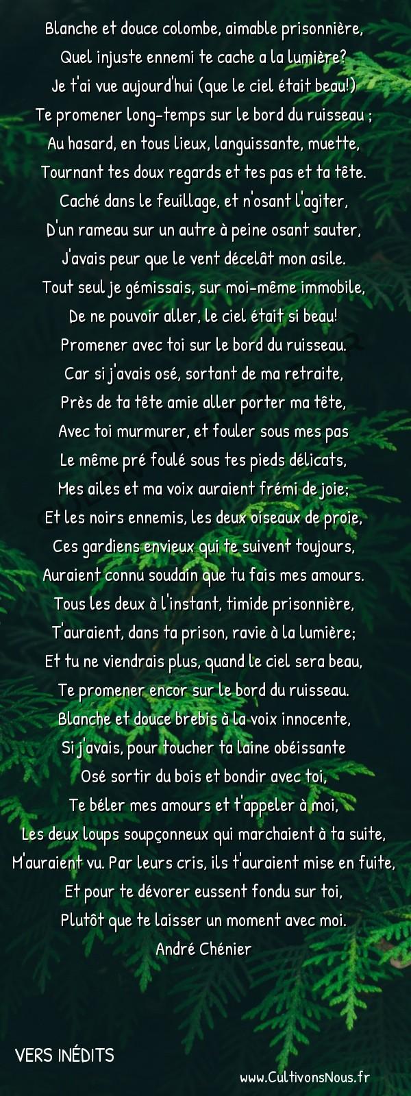 Poésies André Chénier - Vers inédits - A mademoiselle de Coigny -  Blanche et douce colombe, aimable prisonnière, Quel injuste ennemi te cache a la lumière?