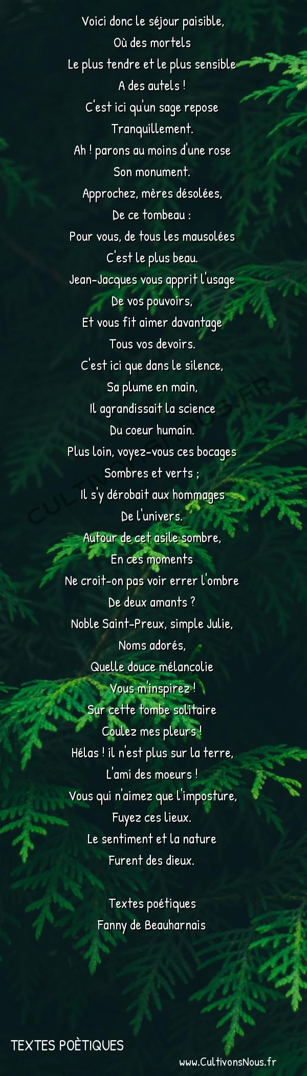 Poésie Fanny de Beauharnais - Textes poètiques - Romance faite à Ermenonville -  Voici donc le séjour paisible, Où des mortels