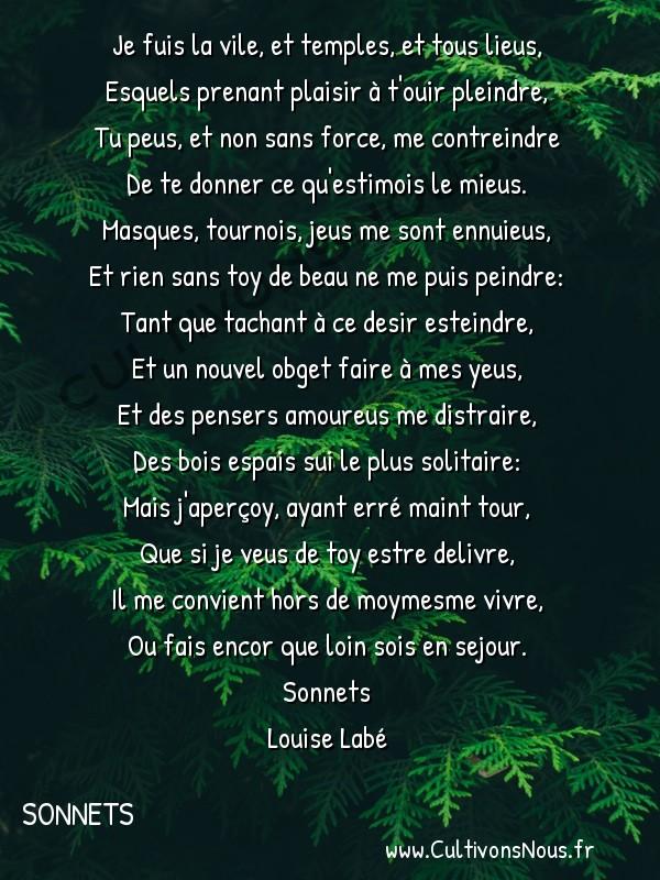 Poésie Louise Labé - Sonnets - Je fuis la vile -  Je fuis la vile, et temples, et tous lieus, Esquels prenant plaisir à t'ouir pleindre,