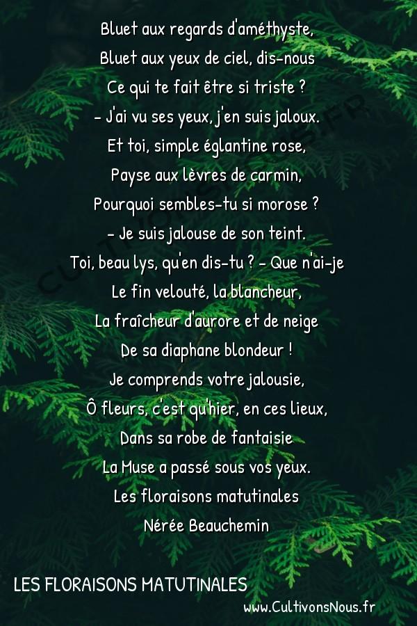 Poésie Nérée Beauchemin - Les floraisons matutinales - La muse -  Bluet aux regards d'améthyste, Bluet aux yeux de ciel, dis-nous