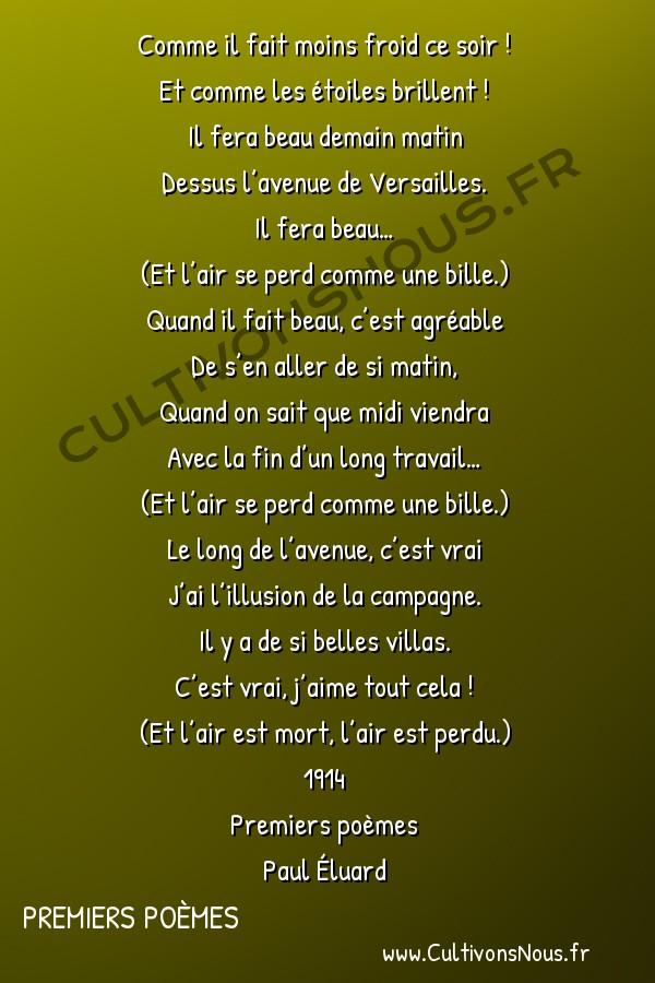 Poésie Paul Eluard - Premiers Poèmes - Sourdine -  Comme il fait moins froid ce soir ! Et comme les étoiles brillent !