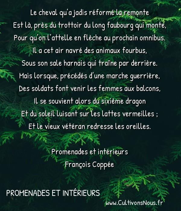 Poésie François Coppée - Promenades et Intérieurs - Cheval de Renfort -  Le cheval qu'a jadis réformé la remonte Est là, près du trottoir du long faubourg qui monte,