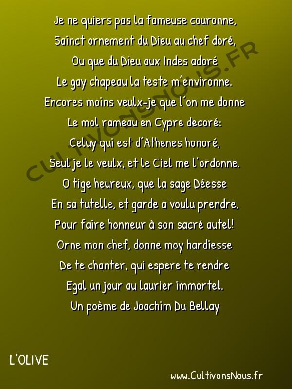 Poésie Joachim Du Bellay - L'Olive - Sonnet 1 -  Je ne quiers pas la fameuse couronne, Sainct ornement du Dieu au chef doré,