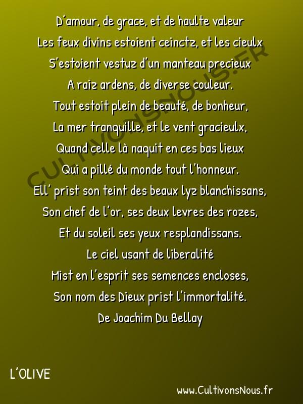 Poésie Joachim Du Bellay - L'Olive - Sonnet 2 -  D'amour, de grace, et de haulte valeur Les feux divins estoient ceinctz, et les cieulx