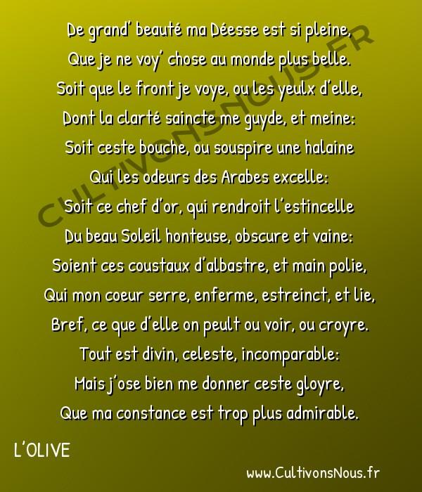 Poésie Joachim Du Bellay - L'Olive - Sonent 7 -  De grand' beauté ma Déesse est si pleine, Que je ne voy' chose au monde plus belle.