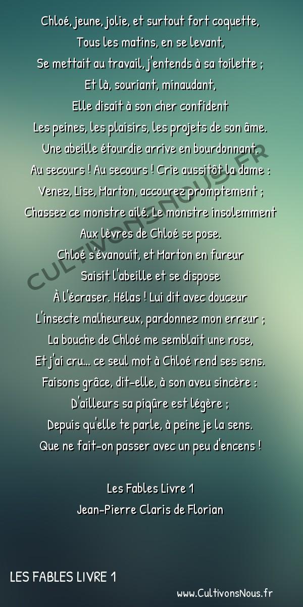 Poésie Jean-Pierre Claris de Florian - Les Fables Livre 1 - La coquette et l'abeille -  Chloé, jeune, jolie, et surtout fort coquette, Tous les matins, en se levant,