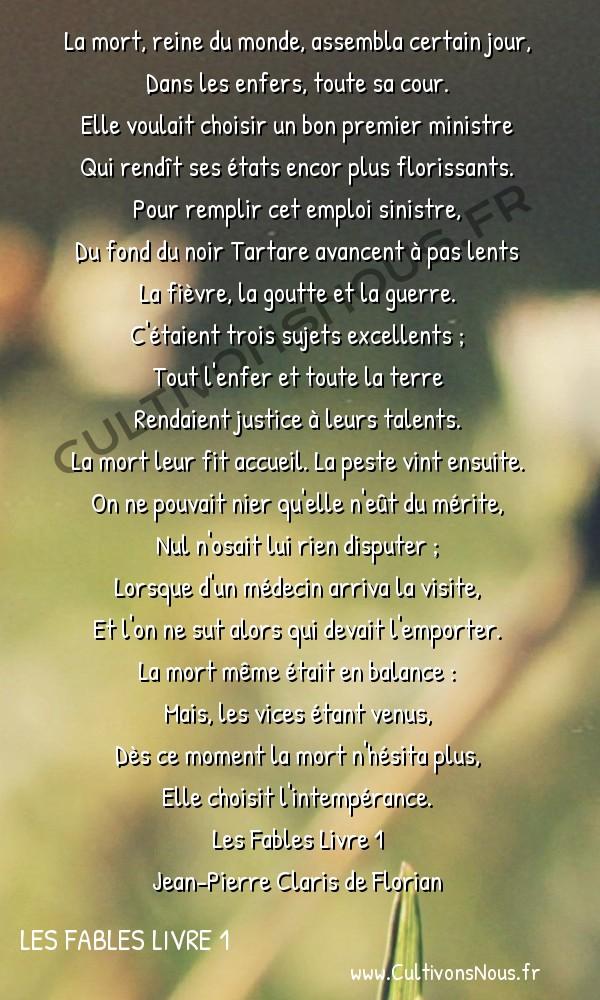 Poésie Jean-Pierre Claris de Florian - Les Fables Livre 1 - La mort -  La mort, reine du monde, assembla certain jour, Dans les enfers, toute sa cour.