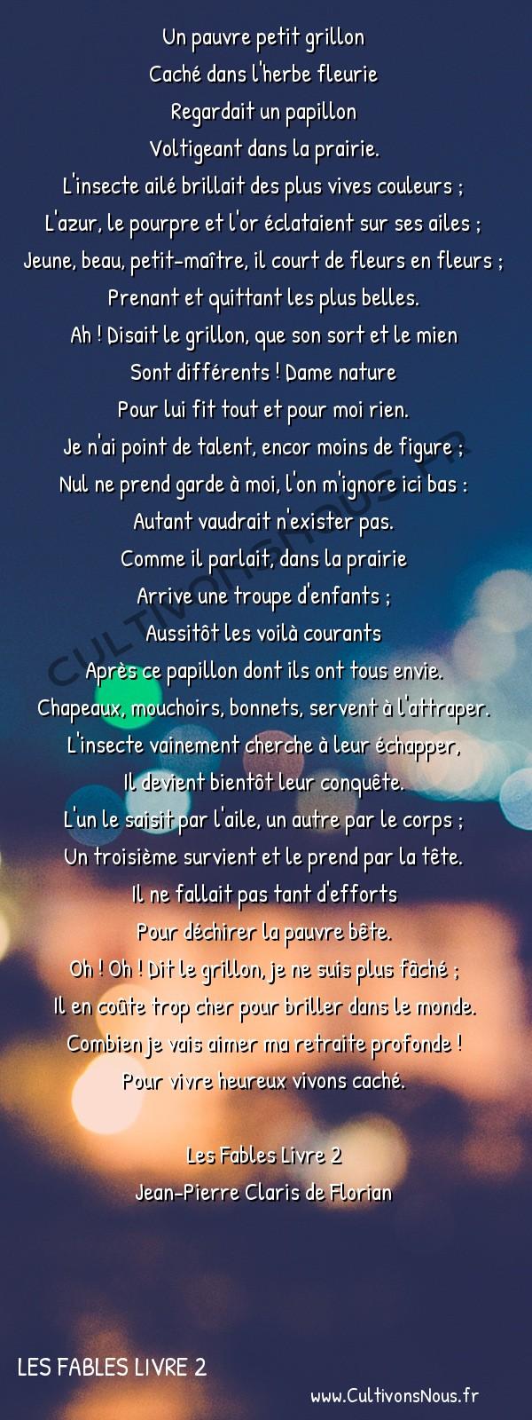 Poésie Jean-Pierre Claris de Florian - Les Fables Livre 2 - Le grillon -  Un pauvre petit grillon Caché dans l'herbe fleurie