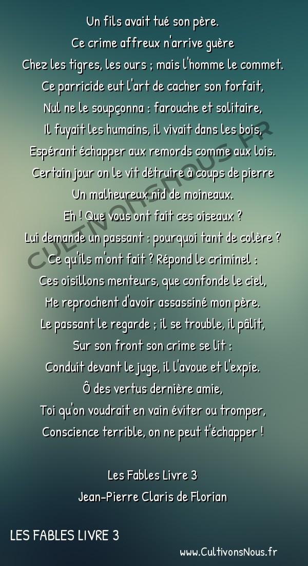 Poésie Jean-Pierre Claris de Florian - Les Fables Livre 3 - Le parricide -  Un fils avait tué son père. Ce crime affreux n'arrive guère