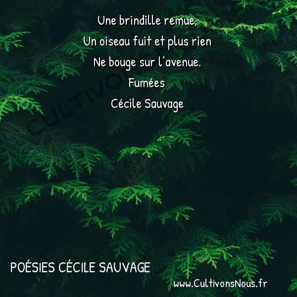 Poésies Cécile Sauvage - Fumées - Dans l'herbe trottine un chien -  Une brindille remue, Un oiseau fuit et plus rien
