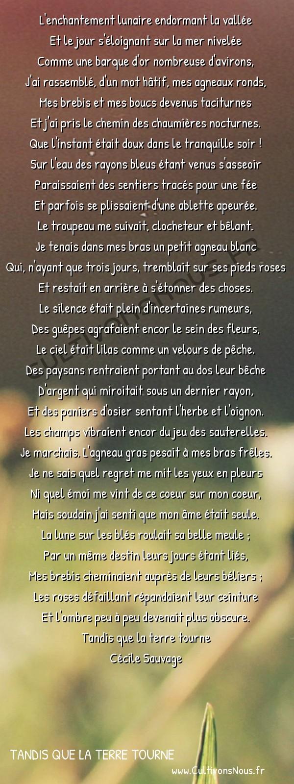 Poésies Cécile Sauvage - Tandis que la terre tourne - L'enchantement lunaire -  L'enchantement lunaire endormant la vallée Et le jour s'éloignant sur la mer nivelée