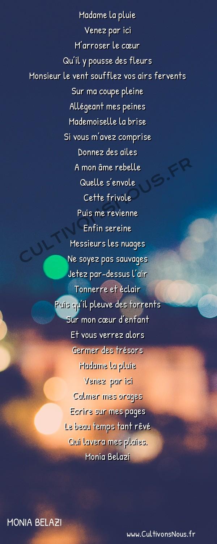 Poésies contemporaines - Monia Belazi - Dr Météo -  Madame la pluie Venez par ici